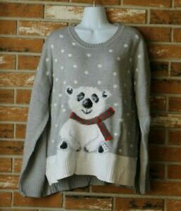 Holiday-Time-Ugly-Christmas-Sweater-Grey-with-Fuzzy-Polar-Bear-Size-XL