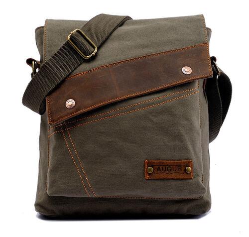 Men/'s Vintage Canvas Leather Satchel School Shoulder Bag Military Messenger Bag