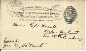 al Card Sc#UX16 New York MAY/15/1900 to KISKO FINLAND, scarce destination