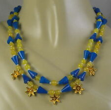 "Gold Vermeil Sterling Silver Flower Toggle Clasp Blue Handmade Bib 19"" Necklace"