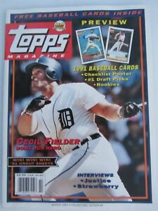 Details About Topps Magazine Winter 1991 5th Edition Cecil Fielder Cover 8 Cards Inside