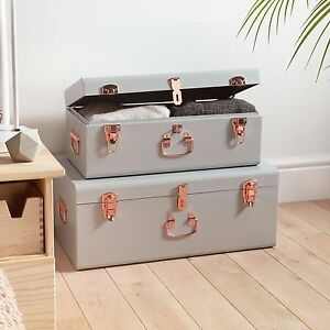 Image Is Loading Beautify 2 Set Gray Steel Storage Trunk Chest
