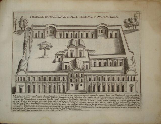 Stampa antica Terme Novatiane Santa Pudenziana Roma Giacomo Lauro old print