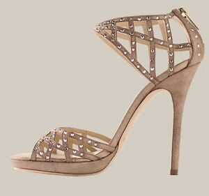 65d57d27c Image is loading Jimmy-Choo-EMERALD-Suede-Jeweled-Sandal-Shoes-Nude-