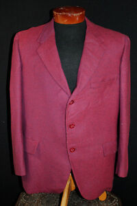 Prudent Vintage Rouge & Noir Chevrons 1960's Cachemire Mark Chrismar Veste Sport 42+