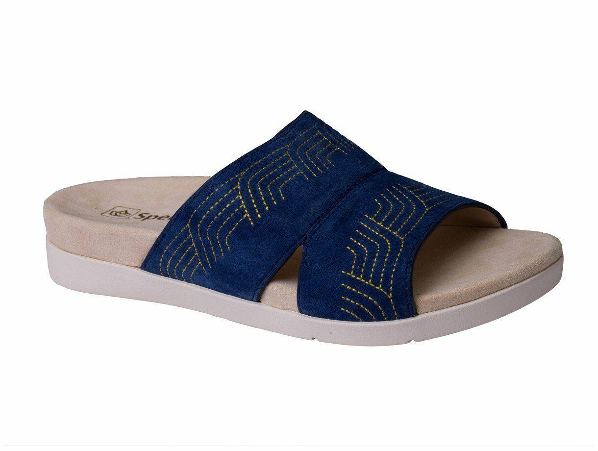 Spenco Twilight Ellie Women's Leather Slide Sandal Peacoat - 8.5 Wide