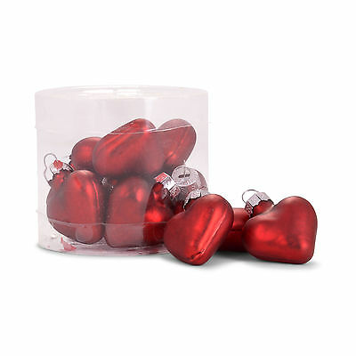 Mini Red Heart Glass Christmas Baubles Tree Decorations in Box of 12