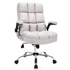 Costway High Back Big Amp Tall Office Chair Adjustable Swivel Withflip Up Arm Beige