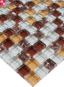 Das Bild Wird Geladen Glasmosaik Mosaikfliesen Mosaike Fliesen Glas 30x15cm  Weiss Bronze