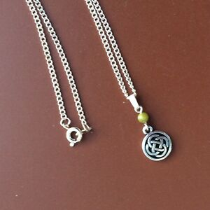 7ba35283ecaae Details about Connemara marble Celtic knot silver pewter pendant. Irish  jewelry gift craft box