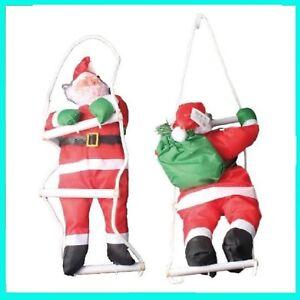 Babbi Natale.Babbo Natale Su Scala Per Esterno Da Balcone Per Vetrina Negozio Casa Giardino Ebay
