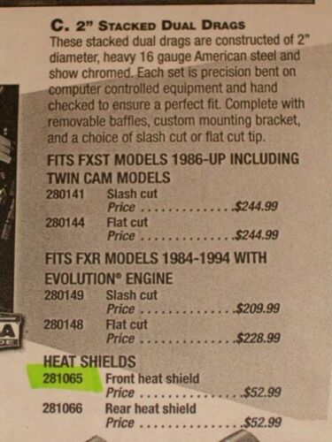 """Curved Shaped Chrome Heat Shield for 2/"""" Drag Pipes-NEW!"""