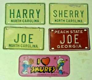 I Heart Smurfs 1983 Peyo & 4 GA & NC Personalized Bicycle Mini License Tags Lot