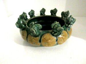 "Vintage Ceramic Mini Elephants Trunk Up Planter or Bowl 6"""