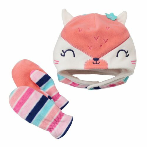 Jumping Beans Toddler Girl Boy Fox Kitty Bear Moose Fleece Winter Hat Gloves Set
