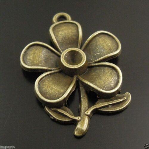 30pcs Antique Style Bronze Alloy Flower Shape Charm Pendant Fit 3mm Rhinestone