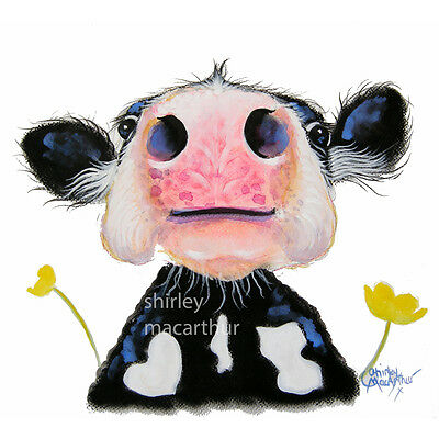 SHIRLEY MACARTHUR PRINT/CANVAS IN 3 SIZES FRIESIAN NOSEY COW PAINTINGS 'DAFFODIL