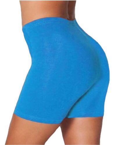 New Ladies Plain Gym Cycling Shorts Women/'s Cotton Elastane Plus Size shorts