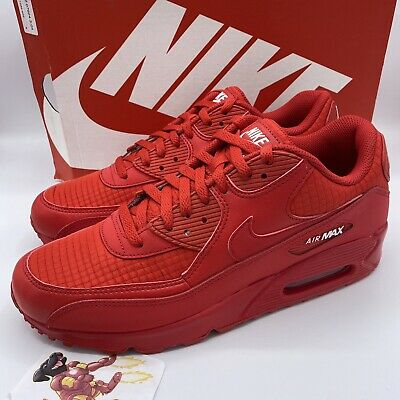 New Nike Air Max 90 Essential University Triple Red AJ1285-602 Men's Size  13 | eBay