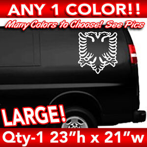 "ALBANIA ALBANIAN EAGLE OUTLINE FLAG WINDOW LARGE DECAL STICKER 16/""h x 15/"""