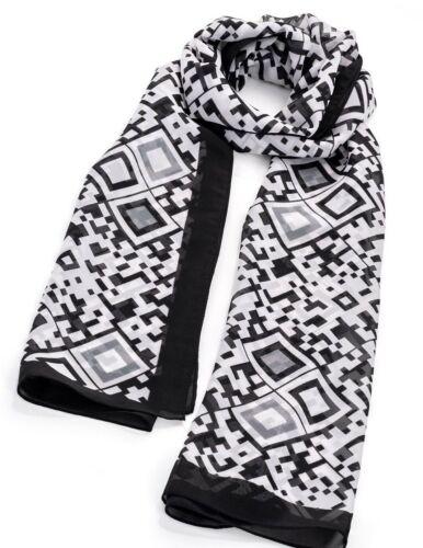 Quadrati Geometrico Sciarpa Avvolgere-stampa-Scialle Nero Bianco-Diamond 50 x 160cm-regalo F