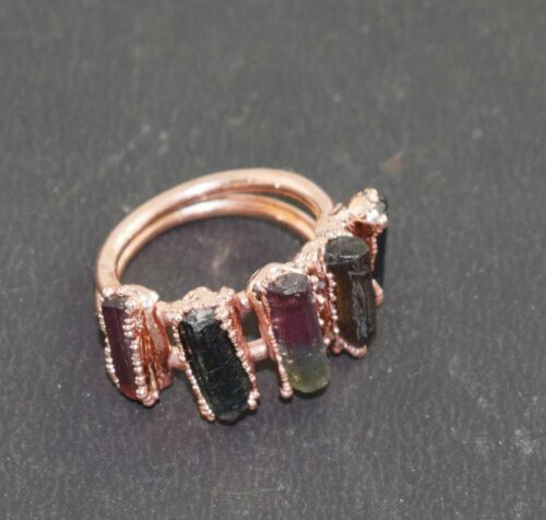 AAA Natural Tourmaline Gemstone Stackable Design Promise Birthstone Ring Jewelry