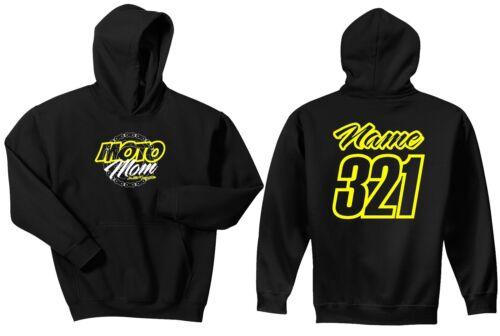 MOTO MOM HOODIE SWEAT SHIRT JUST RIDE JUMPER MOTOCROSS MX QUAD ATV RACE NUMBER