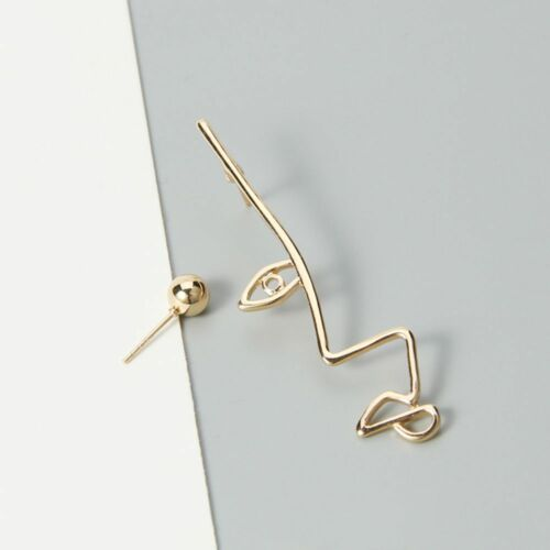 Plated Hook Dangle Abstract Clip Personality Drop Earrings Twisted Hollow Face