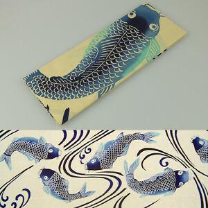 Japanese-Traditional-Hand-Towel-TENUGUI-100-x-34cm-Made-in-JAPAN-Carp-Fish-Blue