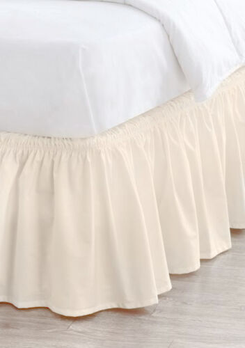 """Elastic Bed Skirt Dust Ruffle Easy Fit Egyptian Cotton 14/""""Drop Choose Size Color"""