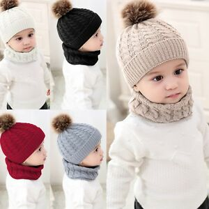 Fashion-Baby-Boys-Girls-Children-Winter-Cap-Knitted-Warm-Hat-and-Scarf-Set-Gifts