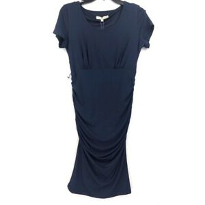 Kimi-Kai-Womens-Maternity-Dress-Blue-Ruched-Crew-Neck-Side-Zip-Short-Sleeve-S