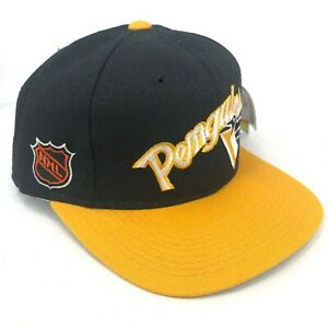 Vintage-Pittsburgh-Penguins-Sports-Specialties-Fitted-Gorra-Negro-Amarillo-Texto