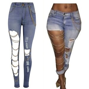 Hot Women Ladies Destroyed Ripped Distressed Chain Denim Pants ...