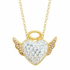 Crystaluxe Angel Pendant w/ Swarovski Crystals in 14K Gold over Sterling Silver