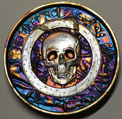 Elemetal Privateer The Captain 2 oz Silver Round Rainbow Toned / Toning