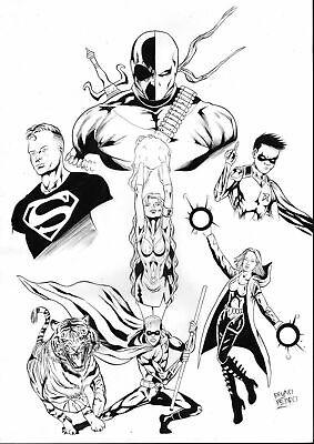 Teen Titans Deathstroke Original Art Pinup Page Superboy Starfire Robin Raven Dc Ebay