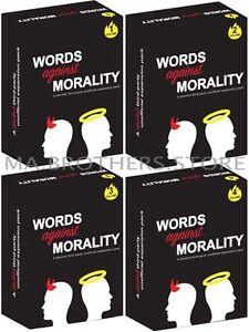 cards against humanity expansion words against morality game 4 pack 440 card set ebay. Black Bedroom Furniture Sets. Home Design Ideas