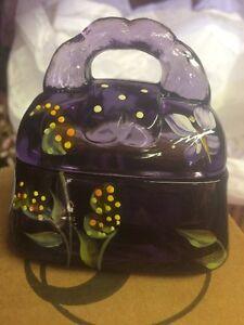 Fenton Art Glass PURSE Box Violet Purple # 7 Of 2500 Mint Condition!
