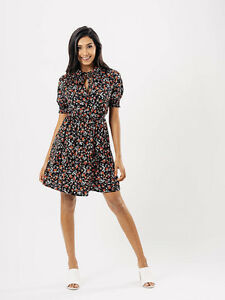 Womens-Black-Ditsy-Print-Peter-Pan-Collar-Dress-8-14-BNWT-RRP-27-99