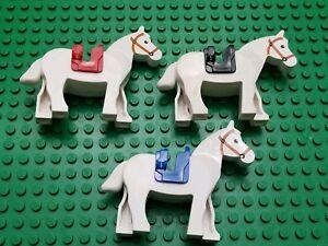 LEGO Minifigures Horses Lot Western Castle 4 Lego Horse Minifigs With Saddles