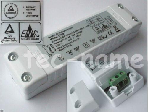 SLIMLINE FLACHER HALOGENTRAFO TRANSFORMATOR 20-60W WATT 230V//12V DIMMBAR TÜV-GEP