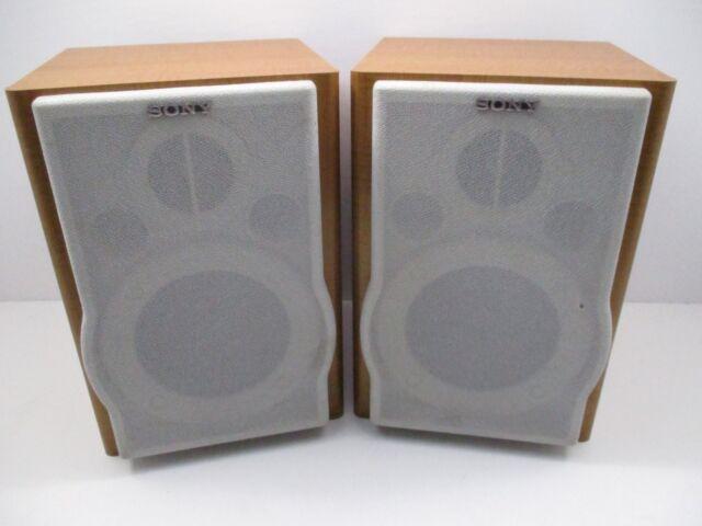 2 Sony Speakers Wood Bookshelf SS CEP707 Stereo System Speaker