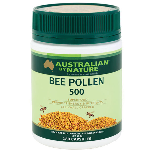 New Australian by Nature Bee Pollen 500mg 180 Capsules ABN Immune Boost