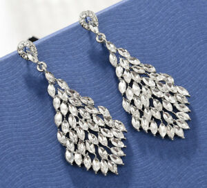 84b9d6f06f827 Details about Sexy Marquise Drop Crystal Rhinestone Chandelier Dangle  Earrings Studs H38 White