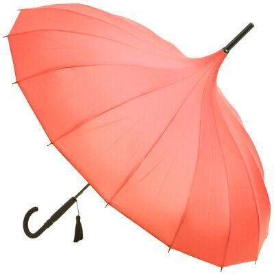 SOAKE Ladies Pink Pagoda Oriental Fashionable Umbrella Black Tassel /& Handle NEW