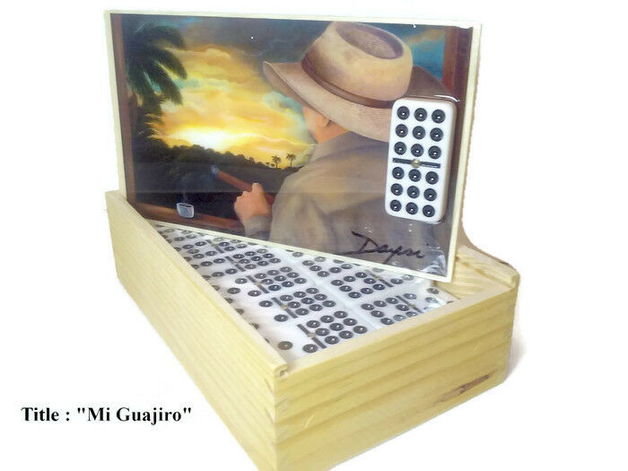 New   Domino Set Double Nine  Mi Guajiro  Oil painting on Top.