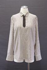 NWT$1395 Brunello Cucinelli 100% Silk Sparkly Monili Tie Beaded Striped Blouse M