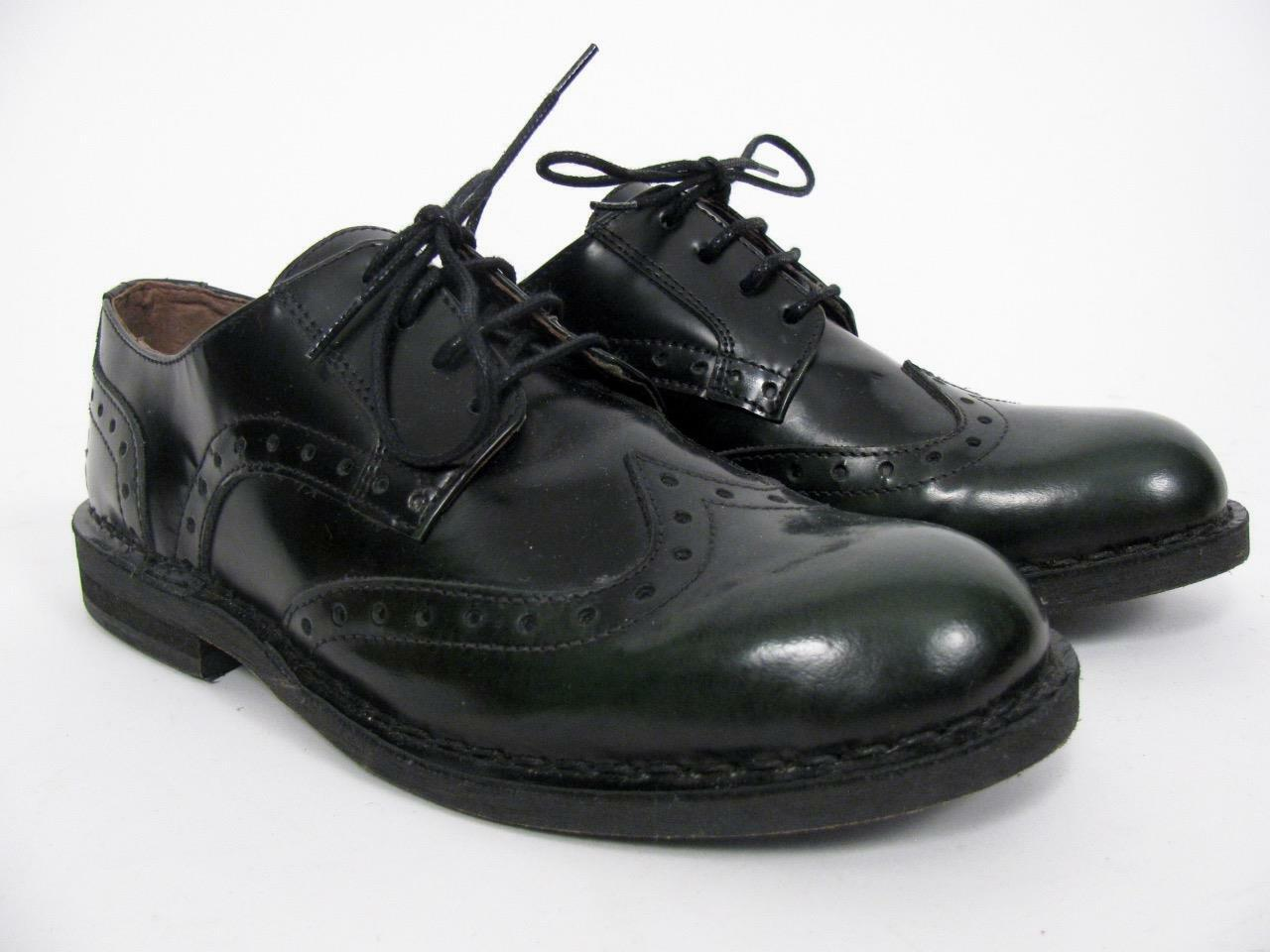 FLY LONDON BLACK LEATHER BROGUE WINGTIP LACED CLASSIC OXFORD LADIES SHOES37