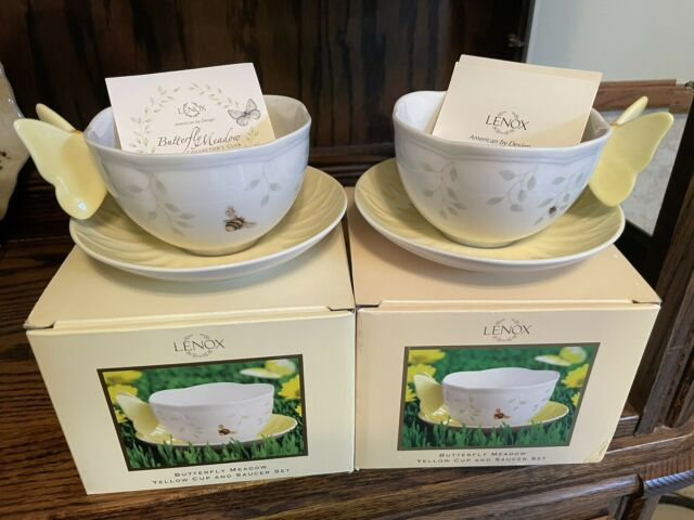 Lenox Butterfly Meadow Yellow Cup & Saucer Lot Of 2 Sets NEW In Boxes